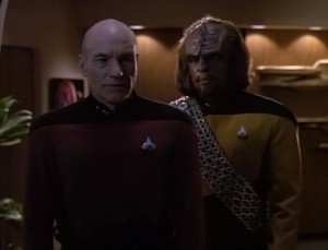 The Drumhead (episode) - Picard Worf, observation lounge