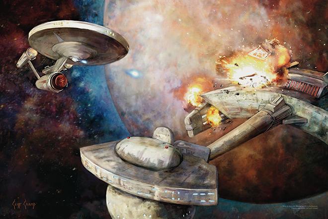 Enterprise fires on Kligon ship poster