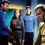 Romulan Captain with McCoy, Spock & Kirk